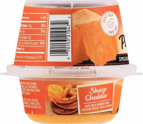 President Spreadable Sharp Cheddar Cheese with Pretzels Perspective: left