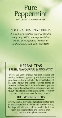 Twinings of London Pure Peppermint Herbal Tea Bags Perspective: left