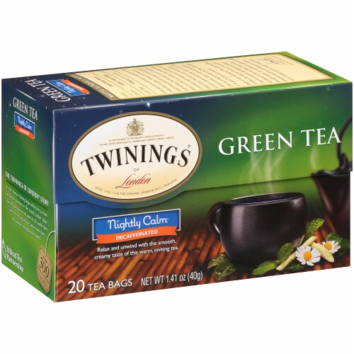 Twinings of London Nightly Calm Decaffeinated Green Tea Bags Perspective: left