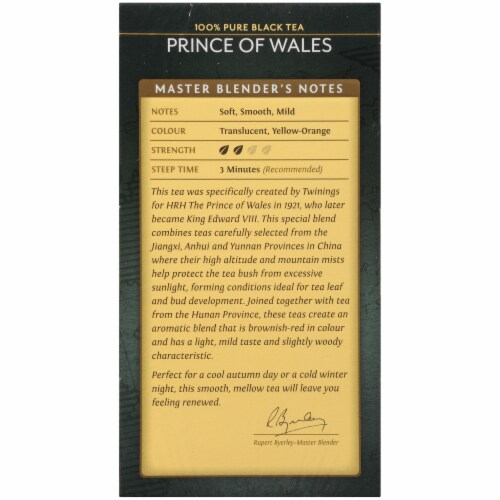 Twinings Of London Prince of Wales Pure Black Tea Bags Perspective: left
