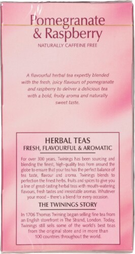 Twinings of London Pomegranate & Raspberry Herbal Tea Bags Perspective: left