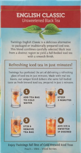 Twinings Of London Cold Brewed English Classic Unsweetened Black Iced Tea Bags Perspective: left