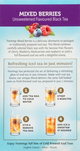 Twinings Of London Cold Brew Mixed Berries Unsweetened Black Iced Tea Bags Perspective: left