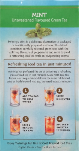 Twinings of London Cold Brewed Iced Tea Mint Green Tea Bags Perspective: left