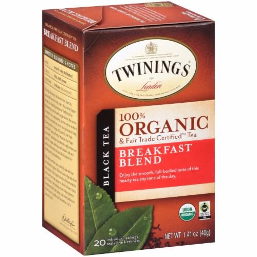 Twinings Of London Organic Breakfast Blend Black Tea Bags Perspective: left