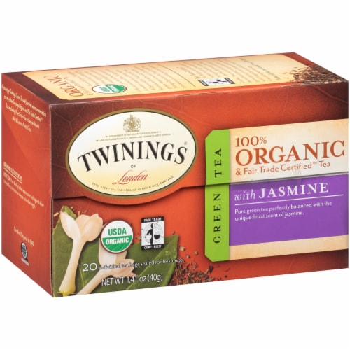 Twinings Of London Organic Jasmine Green Tea Bags Perspective: left