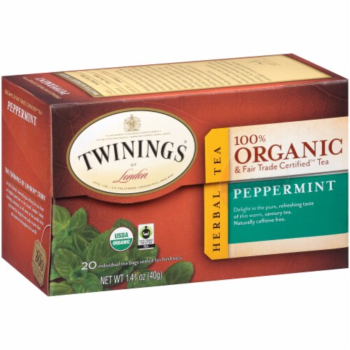 Twinings Of London Organic Peppermint Herbal Tea Bags Perspective: left
