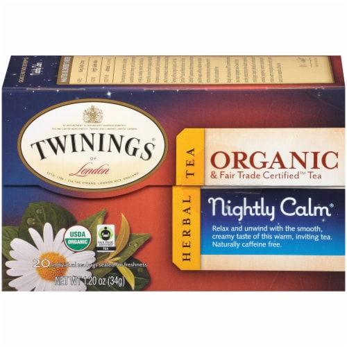 Twinings Of London Organic Nightly Calm Herbal Tea Bags Perspective: left