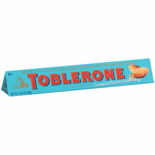 Toblerone Crunchy Salted Almond Swiss Milk Chocolate Bar Perspective: left