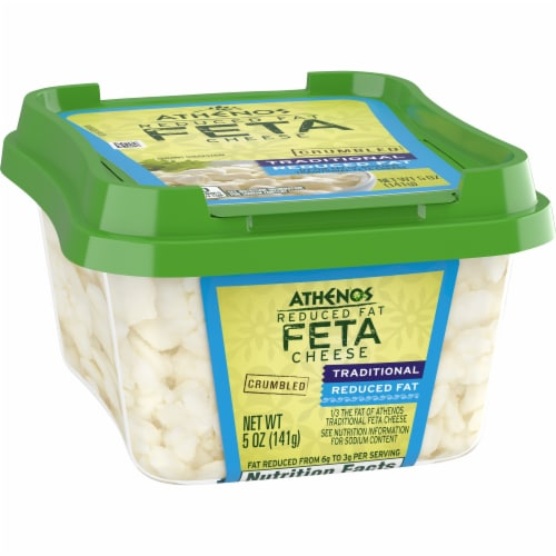 Athenos Crumbled Traditional Reduced Fat Feta Cheese Perspective: left