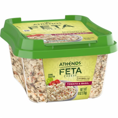 Athenos Crumbled Tomato & Basil Feta Cheese Perspective: left