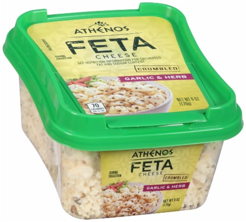 Athenos Crumbled Garlic & Herb Feta Cheese Perspective: left