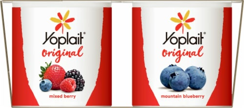 Yoplait Original Mountain Blueberry and Mixed Berry Low Fat Yogurt Perspective: left