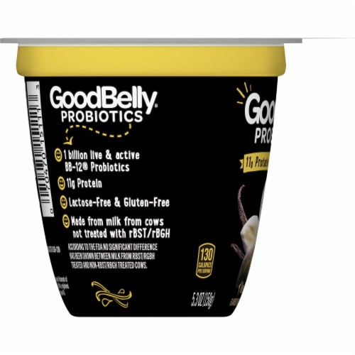 GoodBelly Probiotics Lactose-Free Vanilla Bean Yogurt Perspective: left