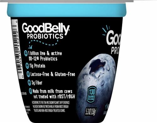 GoodBelly Probiotics Lactose-Free Wild Blueberry Yogurt Perspective: left