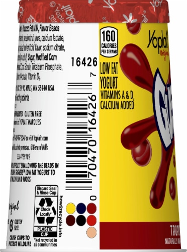 Yoplait Original Tropical Punch Gushers with Burstin' Beads Low Fat Yogurt Perspective: left