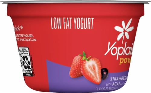 Yoplait Power Strawberry with Acai and Chia Low Fat Yogurt Perspective: left