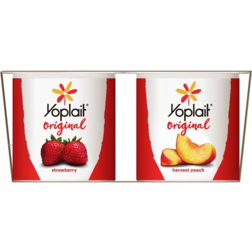 Yoplait Original Strawberry & Harvest Peach Gluten-Free Low Fat Yogurt Variety Pack Perspective: left