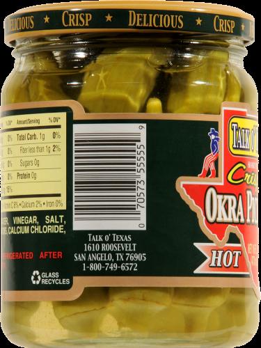 Talk O' Texas Crisp Hot Okra Pickles Perspective: left