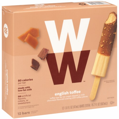 Weight Watchers English Toffee Crunch Ice Cream Bars Perspective: left