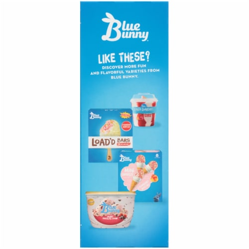 Blue Bunny Load'd Cones Strawberry Shortcake Flavored Frozen Dessert Cones 4 Count Perspective: left