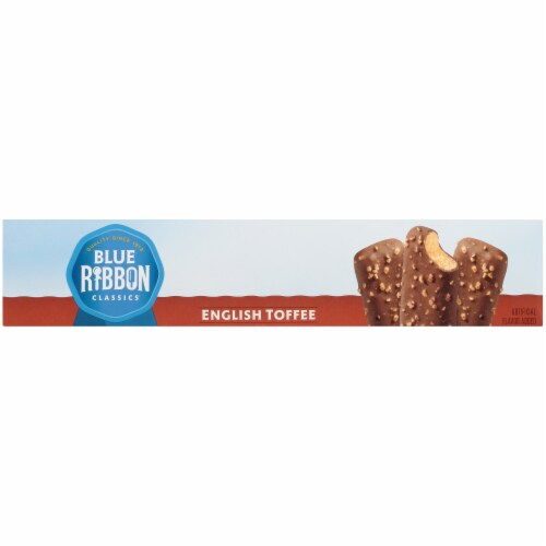 Blue Ribbon English Toffee Ice Cream Bars Perspective: left