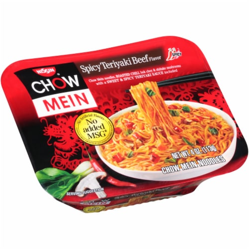 Nissin Chow Mein Spicy Teriyaki Beef Flavor Noodles Perspective: left