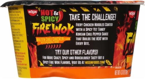Nissin Hot & Spicy Fire Wok Molten Chili Chicken Stir Fry Perspective: left