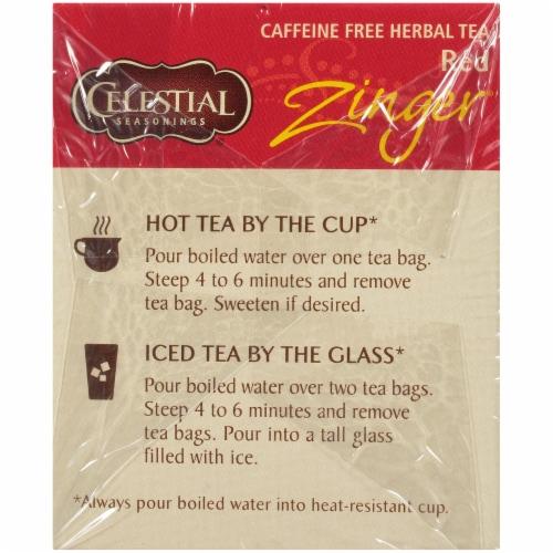 Celestial Seasonings Red Zinger Caffeine Free Herbal Tea Bags Perspective: left