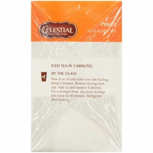 Celestial Seasonings Peach Cool Brew Iced Tea Bags Perspective: left