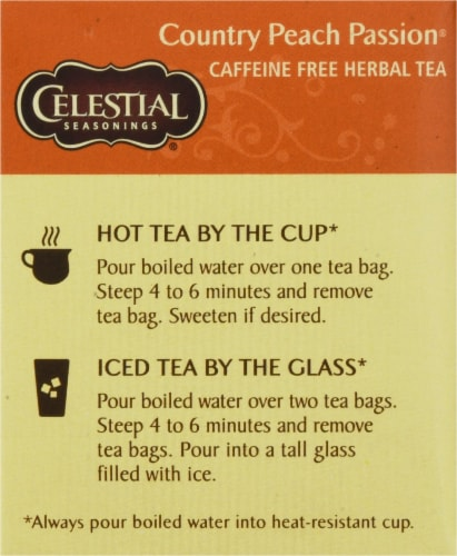 Celestial Seasonings Country Peach Passion Herbal Tea Bags Perspective: left