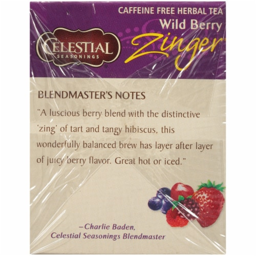 Celestial Seasonings Wild Berry Zinger Herbal Tea Bags Perspective: left