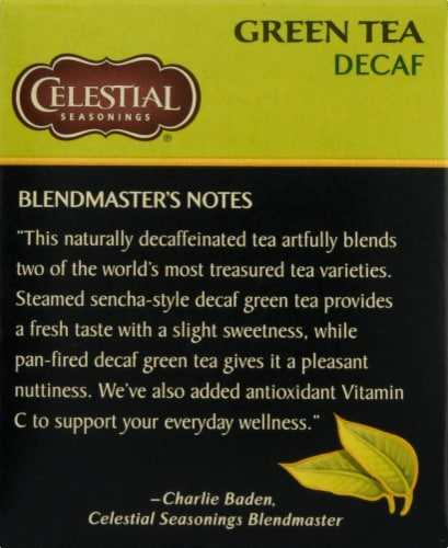 Celestial Seasonings Decaf Green Tea Bags Perspective: left