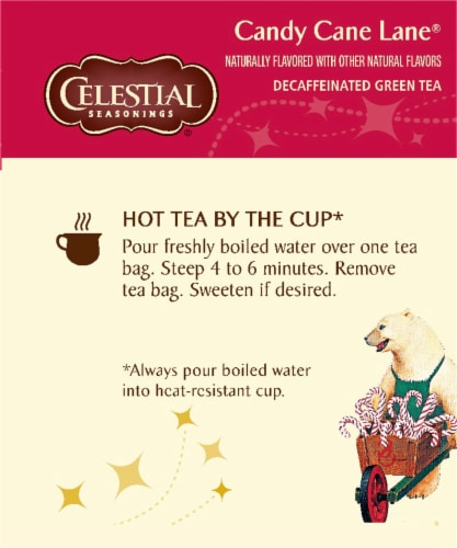 Celestial Seasonings Candy Cane Lane Decaf Green Holiday Tea Bags Perspective: left
