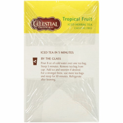 Celestial Seasonings Tropical Fruit Cool Brew Iced Herbal Tea Bags Perspective: left