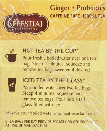 Celestial Seasonings Ginger & Probiotics Caffeine Free Herbal Tea Bags Perspective: left