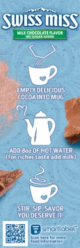 Swiss Miss No Sugar Added Milk Chocolate Flavor Hot Cocoa Mix 8 Count Perspective: left