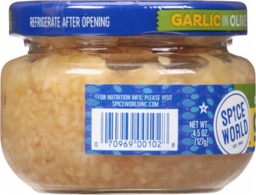 Spice World Minced Garlic in Extra Virgin Olive Oil Perspective: left