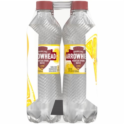 Arrowhead Lemon Sparkling Mountain Spring Water Perspective: left