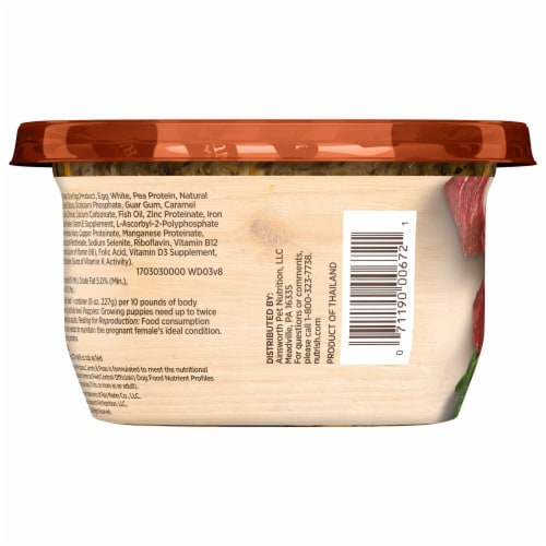 Rachael Ray Nutrish Hearty Beef Stew Recipe Wet Dog Food Perspective: left