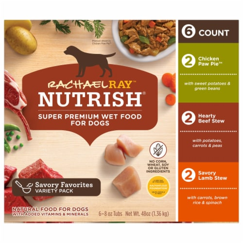 Rachael Ray Nutrish Natural Healthy Recipes Wet Dog Food Variety Pack Perspective: left