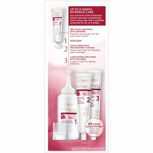 L'Oreal Paris Excellence Creme 4AR Dark Chocolate Brown Hair Color Kit Perspective: left