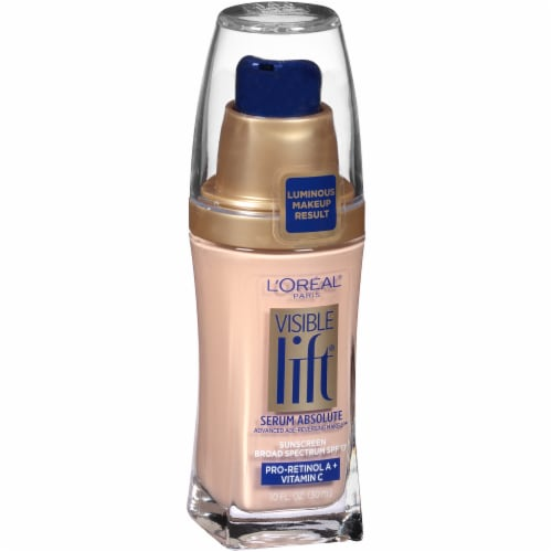 L'Oreal Paris Visible Lift Soft Ivory Serum Absolute Foundation Perspective: left