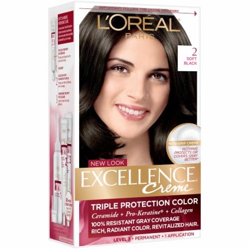 L'Oreal Paris Excellence Creme 2 Soft Black Hair Color Perspective: left