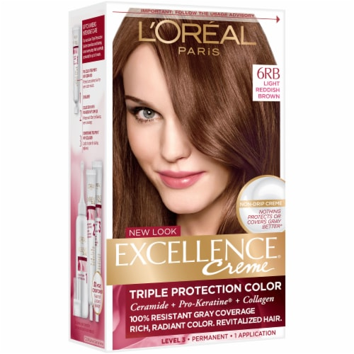 L'Oreal Paris Excellence Creme 6RB Light Reddish Brown Hair Color Perspective: left