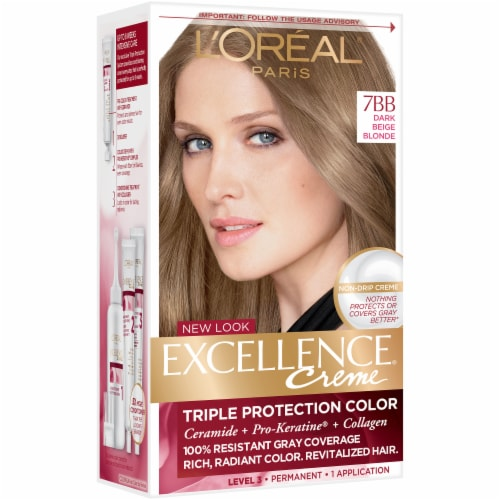 L'Oreal Excellence Dark Beige 7BB Blonde Hair Color Perspective: left