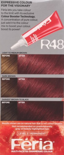L'Oreal Feria Power Red R48 Intense Deep Auburn Permanent Hair Color Gel Perspective: left