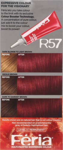 L'Oreal Feria Power Reds Cherry Crush Intense Medium Auburn R57 Permanent Hair Colour Gel Perspective: left