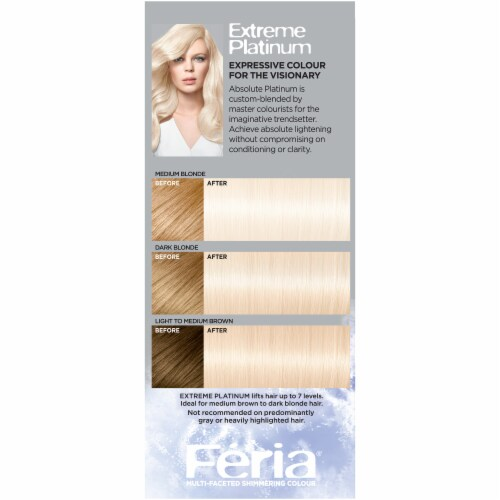 L'Oreal Feria Absolute Platinums Extreme Platinum Hair Color Kit Perspective: left