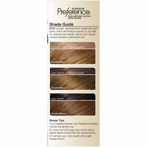 L'Oreal Paris Superior Preference Lightest Golden Brown 6.5G Hair Color Perspective: left